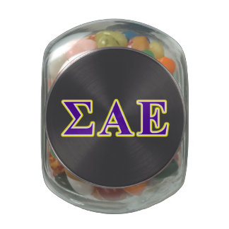 Sigma Alpha Epsilon Purple and Yellow Letters Jelly Belly Candy Jar
