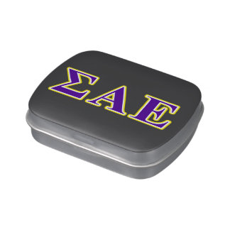 Sigma Alpha Epsilon Purple and Yellow Letters Jelly Belly Tins