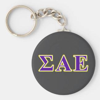 Sigma Alpha Epsilon Purple and Yellow Letters Keychain
