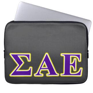Sigma Alpha Epsilon Purple and Yellow Letters Laptop Computer Sleeve