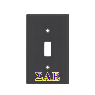 Sigma Alpha Epsilon Purple and Yellow Letters Light Switch Cover