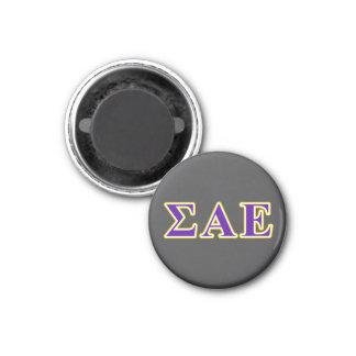 Sigma Alpha Epsilon Purple and Yellow Letters Magnet