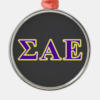 Sigma Alpha Epsilon Purple and Yellow Letters Metal Ornament