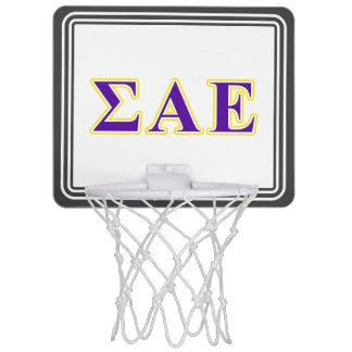 Sigma Alpha Epsilon Purple and Yellow Letters Mini Basketball Backboard
