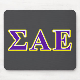Sigma Alpha Epsilon Purple and Yellow Letters Mouse Pad