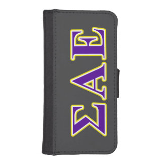 Sigma Alpha Epsilon Purple and Yellow Letters Phone Wallet