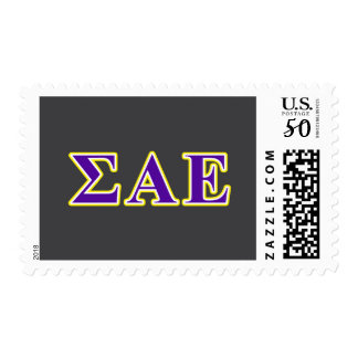 Sigma Alpha Epsilon Purple and Yellow Letters Postage
