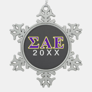 Sigma Alpha Epsilon Purple and Yellow Letters Snowflake Pewter Christmas Ornament
