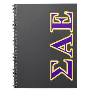 Sigma Alpha Epsilon Purple and Yellow Letters Spiral Note Book
