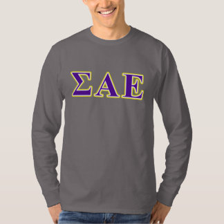 Sigma Alpha Epsilon Purple and Yellow Letters T-Shirt