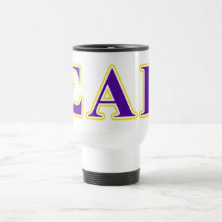 Sigma Alpha Epsilon Purple and Yellow Letters Travel Mug