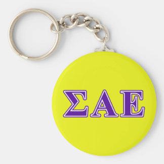 Sigma Alpha Epsilon Purple Letters Keychain