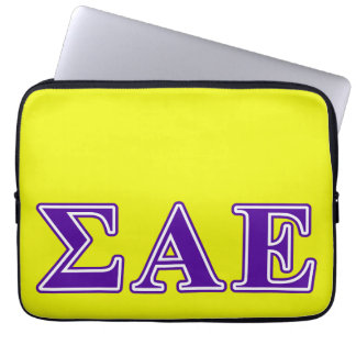 Sigma Alpha Epsilon Purple Letters Laptop Sleeves