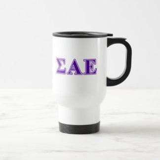 Sigma Alpha Epsilon Purple Letters Travel Mug