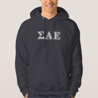 Sigma Alpha Epsilon White and Purple Letters Hoodie