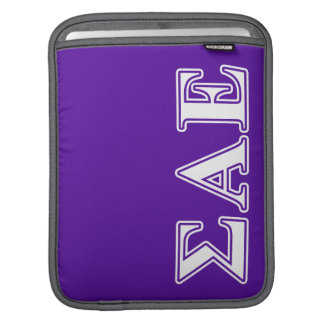 Sigma Alpha Epsilon White and Purple Letters Sleeves For iPads