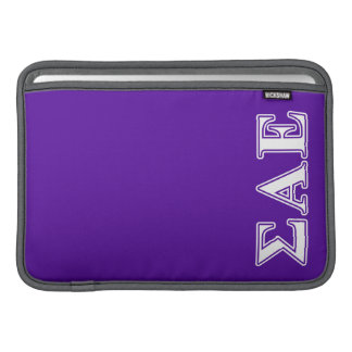 Sigma Alpha Epsilon White and Purple Letters MacBook Sleeve