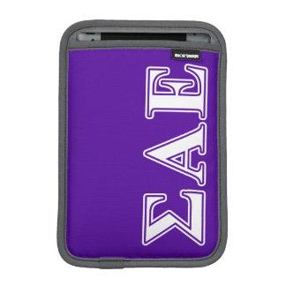 Sigma Alpha Epsilon White and Purple Letters iPad Mini Sleeves