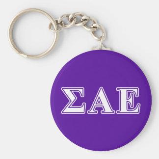 Sigma Alpha Epsilon White and Purple Letters Keychain