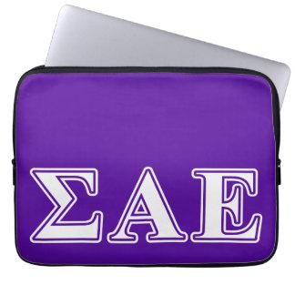 Sigma Alpha Epsilon White and Purple Letters Laptop Computer Sleeve