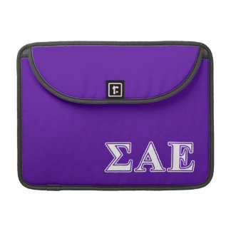 Sigma Alpha Epsilon White and Purple Letters Sleeve For MacBooks