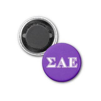 Sigma Alpha Epsilon White and Purple Letters Magnet
