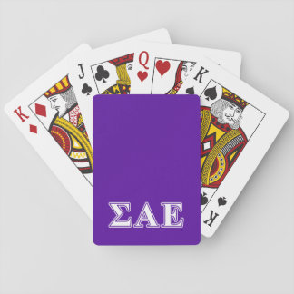 Sigma Alpha Epsilon White and Purple Letters Playing Cards