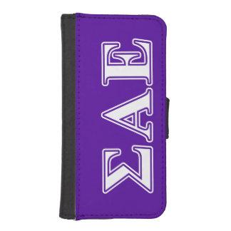 Sigma Alpha Epsilon White and Purple Letters iPhone 5 Wallet Case