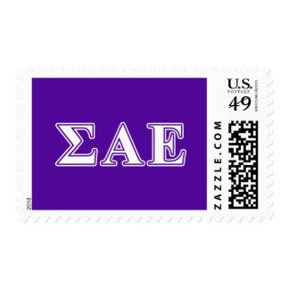 Sigma Alpha Epsilon White and Purple Letters Stamps