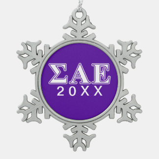 Sigma Alpha Epsilon White and Purple Letters Snowflake Pewter Christmas Ornament