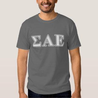 Sigma Alpha Epsilon White and Purple Letters Tshirt