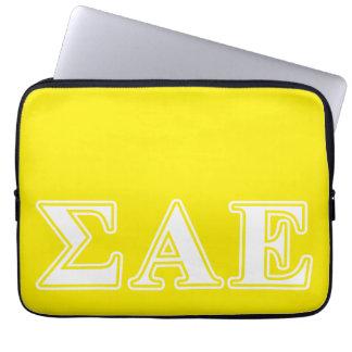 Sigma Alpha Epsilon White and Yellow Letters Laptop Sleeve