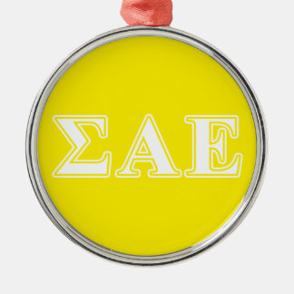 Sigma Alpha Epsilon White and Yellow Letters Metal Ornament