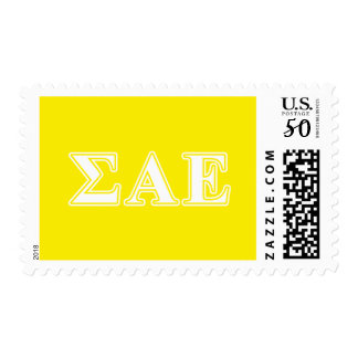 Sigma Alpha Epsilon White and Yellow Letters Postage