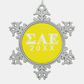 Sigma Alpha Epsilon White and Yellow Letters Snowflake Pewter Christmas Ornament
