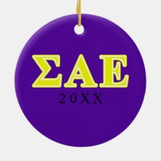 Sigma Alpha Epsilon Yellow Letters Ceramic Ornament
