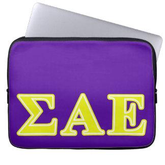 Sigma Alpha Epsilon Yellow Letters Laptop Computer Sleeves
