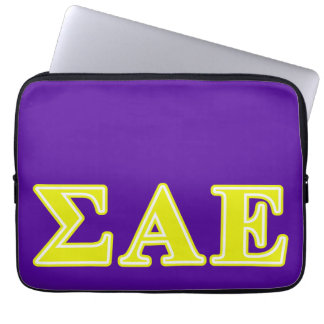 Sigma Alpha Epsilon Yellow Letters Laptop Sleeves