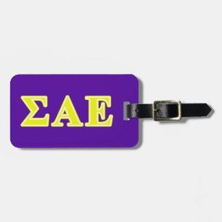 Sigma Alpha Epsilon Yellow Letters Luggage Tag