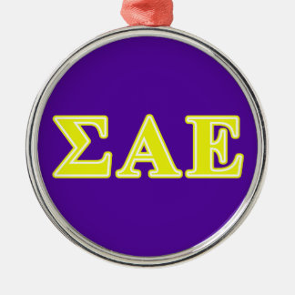 sigma alpha epsilon yellow letters metal ornament
