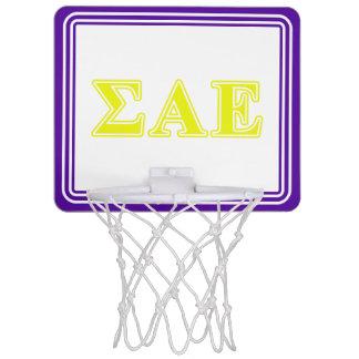 Sigma Alpha Epsilon Yellow Letters Mini Basketball Backboard