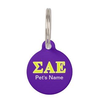 Sigma Alpha Epsilon Yellow Letters Pet Tags