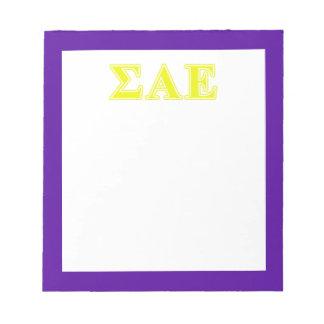 Sigma Alpha Epsilon Yellow Letters Scratch Pad