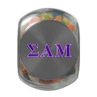 Sigma Alpha Mu Purple Letters Glass Candy Jars