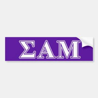 Sigma Alpha Mu White and Purple Letters Bumper Sticker