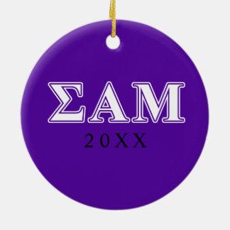 Sigma Alpha Mu White and Purple Letters Ceramic Ornament
