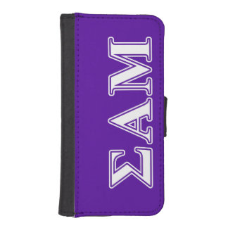 Sigma Alpha Mu White and Purple Letters Wallet Phone Case For iPhone SE/5/5s