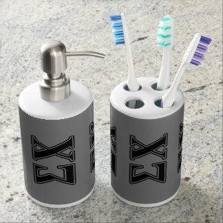 Sigma Chi Black Letters Soap Dispenser & Toothbrush Holder