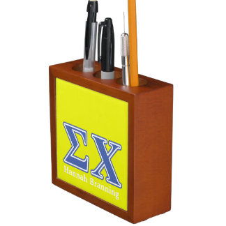 Sigma Chi Blue Letters Pencil Holder