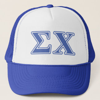Sigma Chi Blue Letters Trucker Hat